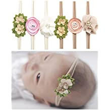 Qandsweet Baby Headbands Rubber Band with Hand Sewing Beads Flower 6 Pack ¡