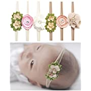Qandsweet Baby Headbands Rubber Band with Hand Sewing Beads Flower 6 Pack ?-