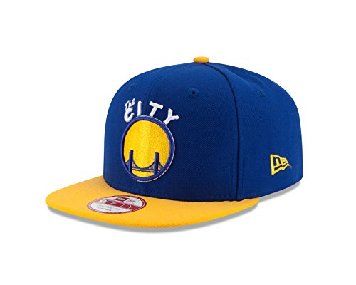 New Era NBA Golden State Warriors Hardwood Classics 2Tone Basic 9FIFTY Snapback Cap, One Size, Royal/Yellow ()