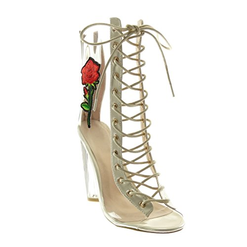 Chaussure Lacets Bottine Beige Haut Femme 11 Transparent Peep Bloc toe Cm Talon Mode Angkorly Brodé gaW60dHqg