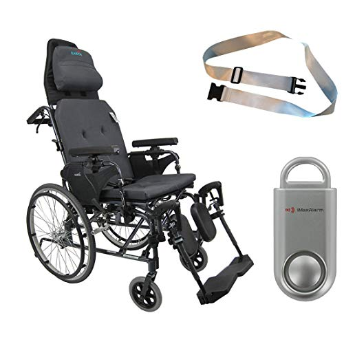 Karman MVP502 20' Width X 18' Depth seat Lightweight Ergonomic Reclining Wheelchair & Free 130 dB Silver Personal Safety Alarm/Siren! + Silver Belt!
