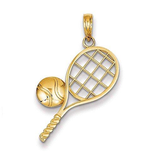14k Yellow Gold Tennis Racket Charm Pendant 26mmx20mm ()