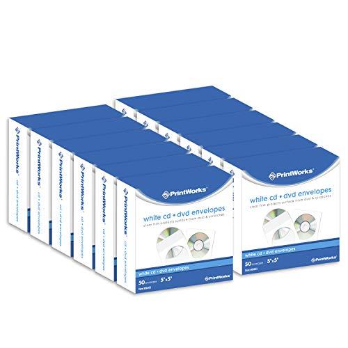 - Printworks CD/DVD Envelopes, FSC Certified, (12 pack bundle) 600 Count, 5