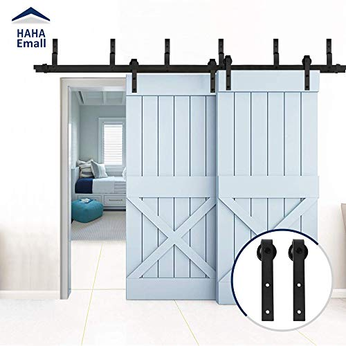 Hahaemall Black Metal Steel Heavy Bearing Wall Ceiling Mount Various Style Sliding Bypass Double Door Hardware Track Roller Hanging Two Wooden Doors ()
