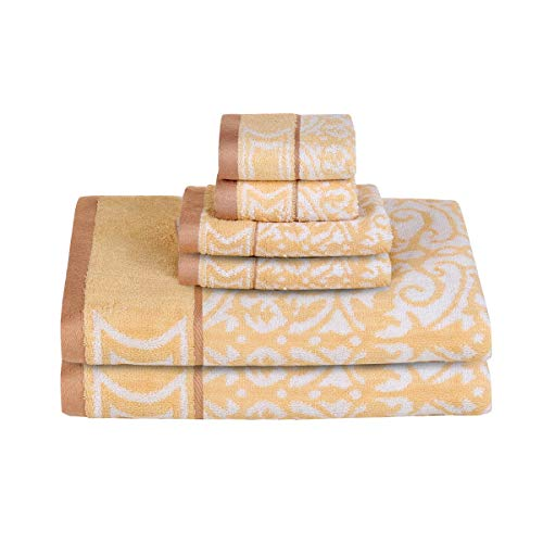 Bamsilk Bamboo Cotton Bath Towel Sets- Floral Jacquard Pattern Towels for Bathroom 6pack-2 Bath Towels 2 Hand Towels and 2 Washcloths (Gold)
