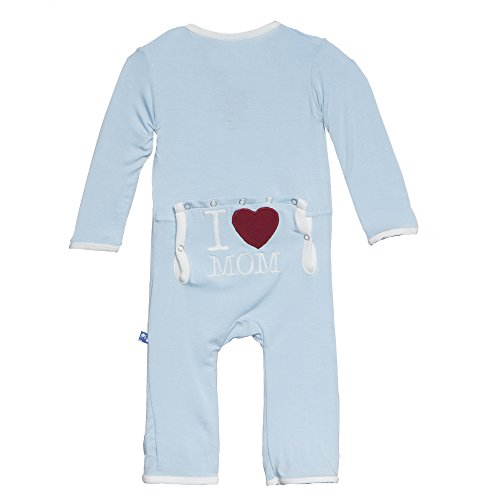 Kickee Pants Baby Boys' Fitted Applique Coverall in Pond I Love Mom, 0-3M by Kickee Pants