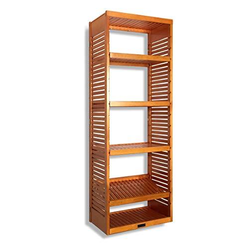 John Louis Home 16in. Deep Storage Tower - Honey Maple Finish