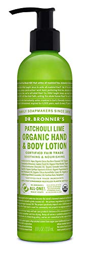 Dr. Bronner's & All-One Organic Lotion for Hands & Body, Patchouli Lime, 8-Ounce Pump Bottle ()