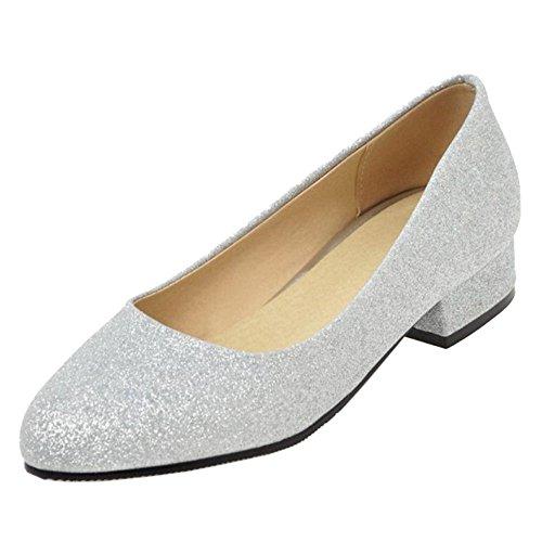 a Femmes silver Escarpins RAZAMAZA Enfiler ZTwq5xa