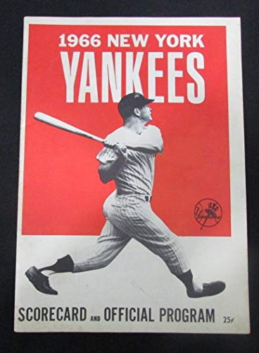 - 7-23-1966 Yankees Scorecard Program Mickey Mantle Home Run #492 4 RBI's 127926