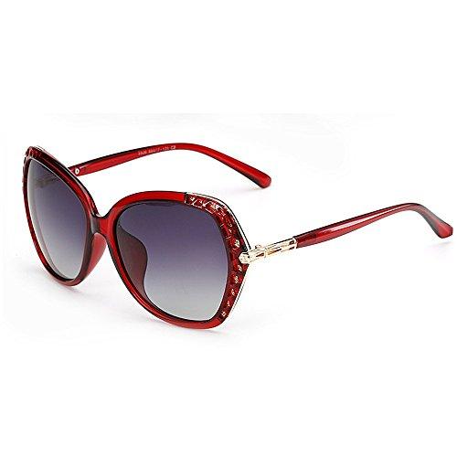 Gafas UV sol Gafas Gafas sol de Gafas de gran mujer para ribetes de con tamaño cuadrada con sol de sol de Protección sol Gafas de polarizadas conducir Rojo mujeres montura de para Cool Classic montura rq8vxrS