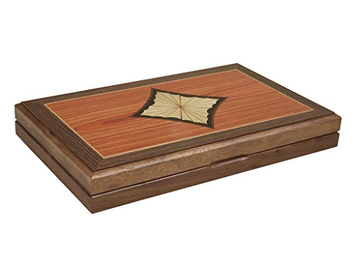 15-inch Wood Backgammon Set - Diamond Inlay Board Burlwood Backgammon Set
