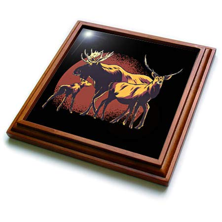 Wildlife Graphic - 3dRose Sven Herkenrath Nature - Graphic with Three Deers Wildlife with Red Circle Background - 8x8 Trivet with 6x6 ceramic tile (trv_316109_1)