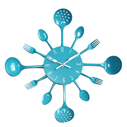 UNIQUEBELLA Metal Kitchen Cutlery Utensil Wall Clock Spoon Fork Home Decor Wanduhr horloge murale Blue