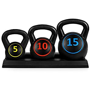 Well-Being-Matters 41luBUoSyFL._SS300_ Best Choice Products 3-Piece Kettlebell Set with Storage Rack, HDPE Coated Exercise Fitness Concrete Weights for Home…