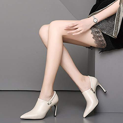 del Corta MSM4 del de la White decoración la los de Mujeres 451 Zapatos La Lateral Cremallera Lado Metal de Esquina Las FF4wqA1