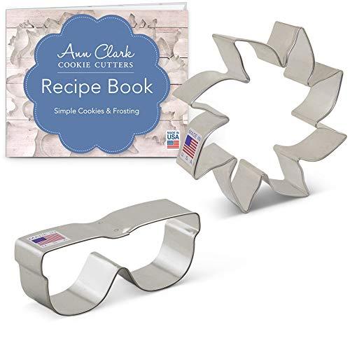 Ann Clark Cookie Cutters 2-Piece Sunshine Cookie Cutter Set with Recipe Booklet, Sun & Sunglasses (Sunglasses Cookie Cutter)