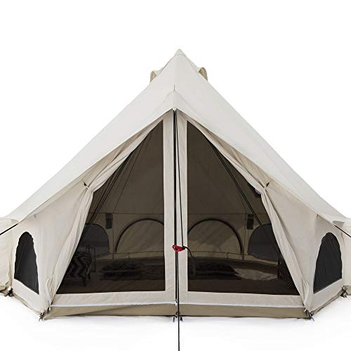 White Duck Outdoors Premium Luxury Avalon Canvas Bell Tent with Stove Jack, Bug mesh for All Season Camping and Glamping