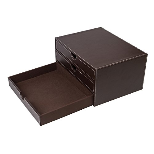 ubaymax multi functional 3 drawer leather desk organizer