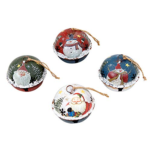 2.5 Inch Snowman Bell Ornament - WHY Decor Christmas Tree Ornaments Pack of 4 Christmas Jingle Sleigh Bell with Snowman Santa Pattern Ornament Christmas Winter Decor Christmas Hanging Ornament Xmas Holiday Decor for Home Hotel Party