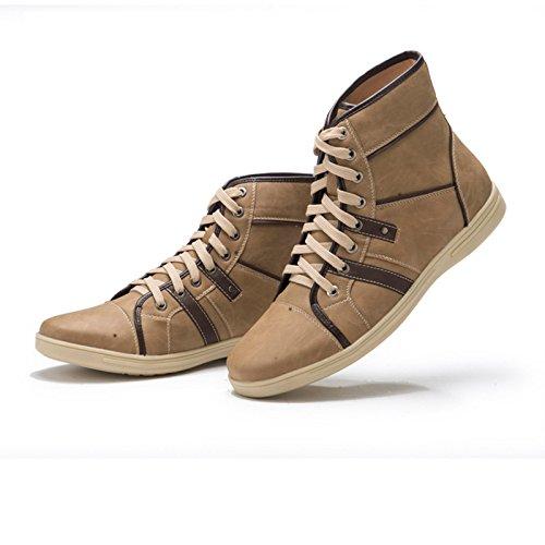 WZG tendencia de la moda zapatos clásicos de alta superior hombres cómodos zapatos marrones de encaje en forma de bota, botas de los hombres picture color