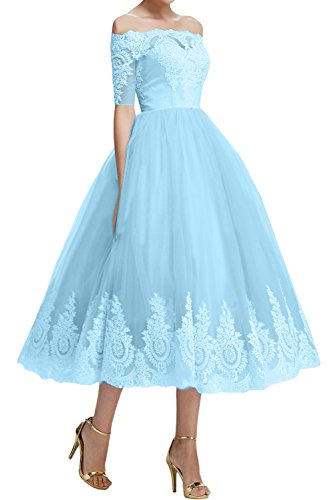 gerade Wadenlang Festkleid Abendkleid A Sweetheart Ivydressing Spitze Partykleid Linie Ballkleid Lilac kurze Kragen Tuell Aermel Applikation zXOwB