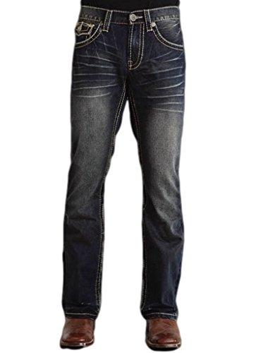 Stetson Men's Rock Fit Curved X Stitched Flap Pocket Jeans Big And Dark Stone 40W x - Pocket Flap Denim