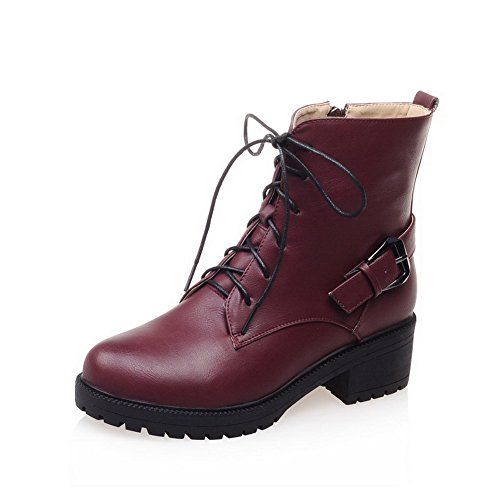 Halloween Events In Columbus Ohio (AmoonyFashion Women's Pu Solid Lace Up Round Closed Toe Kitten Heels Boots, Claret, 37)