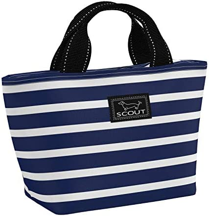 SCOUT Nooner Lunch Box Water-Resistant Lightweight Insulated Lunch Bag for WomenZippered Closure and Exterior Zipper Pocket in our Nantucket Navy Pattern (Multiple Patterns Available)