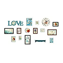 Picture Frame Gallery wall, Love(Vintage), Includes:14 wood Frames with pictures+Clock+Wall Shelves