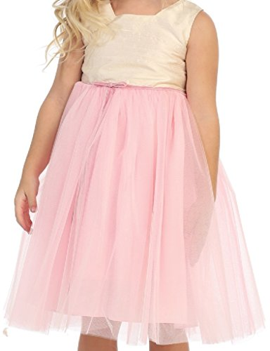 (Little Girls Sleeveless Silk Dupioni Overlay Tulle Flowers Girls Dresses Pink 3)