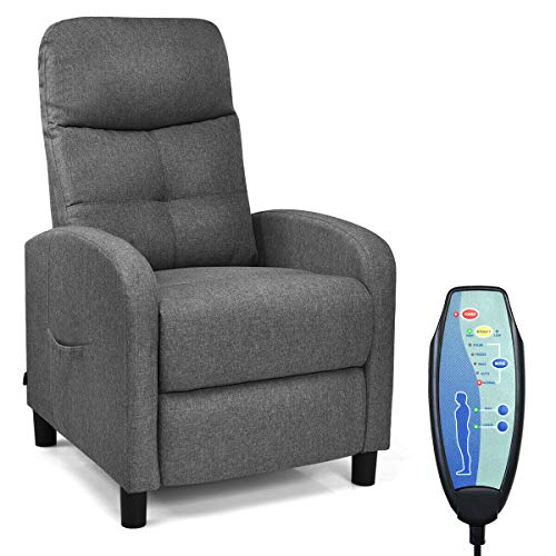 Giantex Massage Recliner Chair w/Remote Control, 5 Massage Modes, Side Pockets, Modern Ergonomic Lounge Chaise for Living Room Office (Fabric)