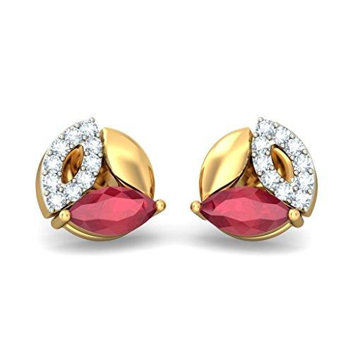 18K Or jaune 0.12CT TW White-diamond (IJ | SI) et rubis Boucles d'oreille à tige