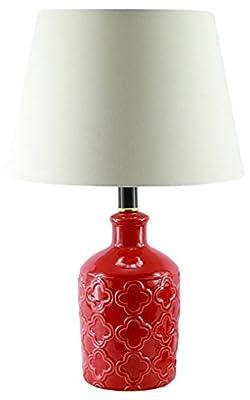 "KANSTAR KA-HZ1Z-NRAO Ceramic Flower Vase Red Finish Classic Table Lamp, 19"" H, Red"