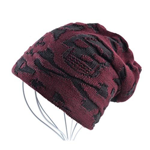 Terciopelo Beanies Rojo Casual Invierno Gorro Hueso Qianliuk Punto Hombres más Sombreros xIqAZ6