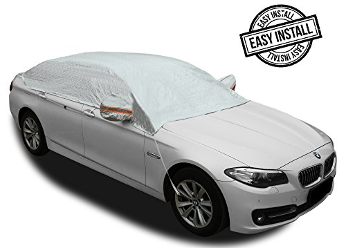 Safe View Half Car Cover Top Waterproof All Weather/Windproof/Dustproof/Windshield Cover Snow Ice Winter Summer For Sedan SUV (Sedan 3XL(185