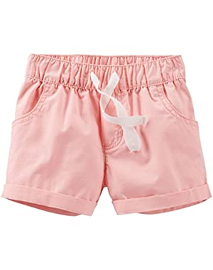 Carters Baby Clothing Outfit Girls Pull-On Poplin Shorts Pink
