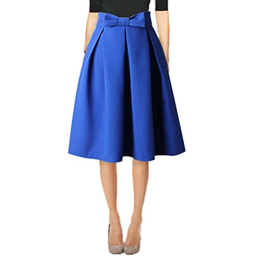 Hanlolo Fashion Womens Vintage A-Line Midi Pleated Prom Skirts with Bow Blue   8/10 -
