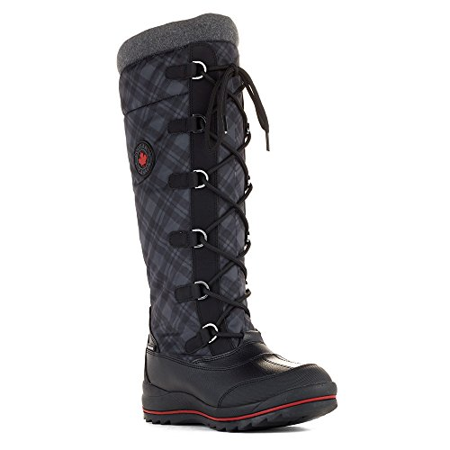 Cougar Mujeres Canuck Impermeable Pull On Bota Blk Plaid 10 M Us