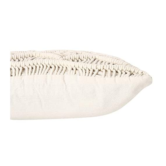 """REDEARTH Macrame Throw Pillow Cushion Covers-Woven Decorative Farmhouse Square Cases Set for Couch, Sofa, Bed, Farmhouse, Chair, Dining, Patio, Outdoor, car; 100% Cotton (18x18; Natural) Pack of 2 - 100% Cotton; 18 x 18 Inch / 45 x 45cm (1-1.5 cm deviation) Set of 2 decorative cushion covers. They fit perfectly on 18""""x18"""" pillow inserts/fillers. For a fuller and plump look, 20x""""20"""" filler can be used. PILLOW INSERTS ARE NOT INCLUDED. The bohemian throw pillow cases are made up of hand knotted macrame in the front and cotton canvas at the back. These cushion covers can add a touch of elegance to any kind of décor and living space. Hidden zipper used for seamless look and durability; the product is tested for shrinkage, color fastness and seam slippage - patio, outdoor-throw-pillows, outdoor-decor - 41luGYwzGEL. SS570  -"""