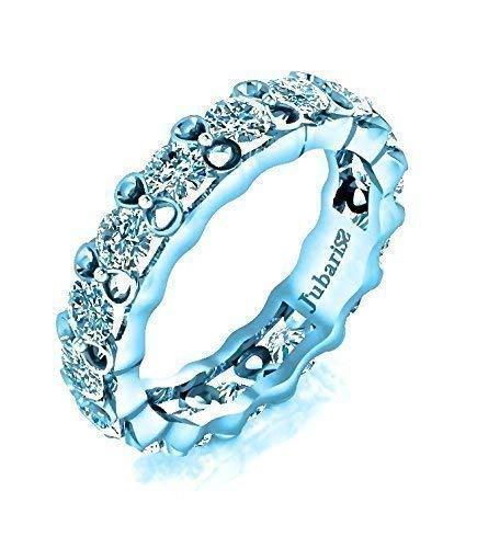 2.55 Tcw. Eternity Wedding Band Round Diamond Tension Set White Gold 14K Anniversary Ring Handmade Custom Jubariss