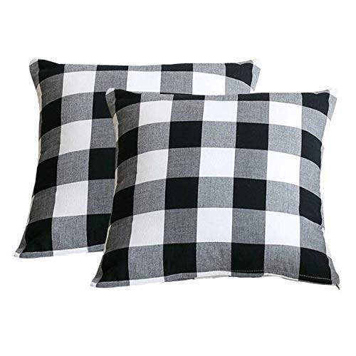 NIDITW Set of 2 Sister Gift Vintage Black and White Buffalo Checkers Plaids Soft Cotton Decorative Throw Pillow Sham Cushion Case for Sofa Couch Outdoor Both Sides Square 20x20 Inches