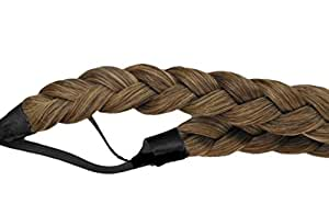 BRAID PLAITED CHUNKY HAIR HEADBAND (15 Chocolate Brown And Honey Blonde Mix) Synthetic