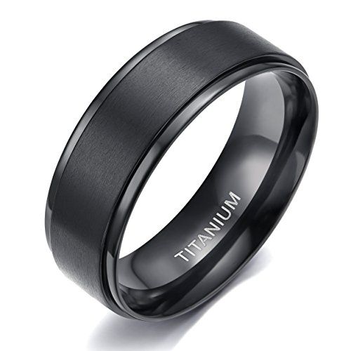 Plated Titanium Wedding Ring (8MM Comfort Fit Titanium Wedding Band | Engagement Ring with Black Plated and Brushed Top finish | Grooved Polished Edges(9))