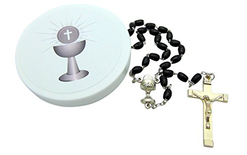 Westman Works Boys' First Holy Communion Rosary Set Black Iridescent Bead Rosary in a Plastic Case ()