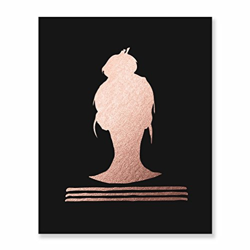 Knot Matte - Top Knot Silhouette Rose Gold Foil on Black Matte Paper Print Woman Bun Hairstyle Stripes French Chic Girly Office Glam Desk Decor Poster Wall Art 8 inches x 10 inches B38