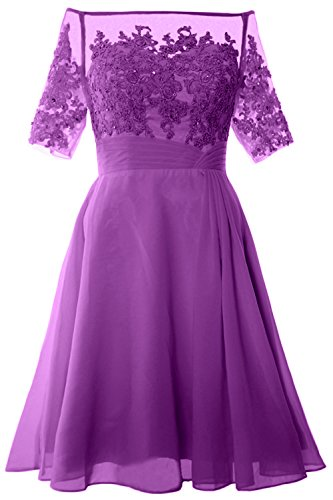 MACloth Women Off Shoulder Mother of Bride Dress with Sleeve Midi Cocktail Dress (EU34, Amethyst)