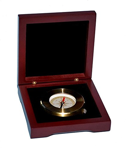 Stanley London Engravable Paperweight Compass with Hardwood Box (Brass, Personalized Compass)