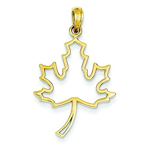 (14K Gold Polished Cut Out Maple Leaf Pendant Charm Jewelry 27 x 20 mm )