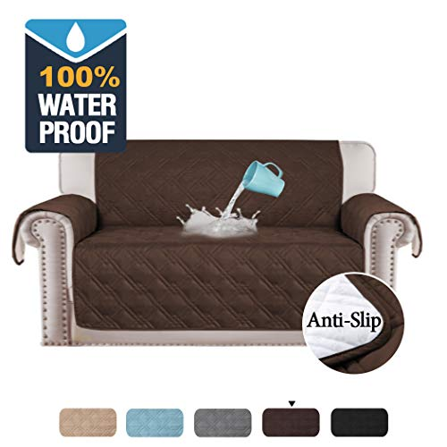 H.VERSAILTEX 100% Waterproof Loveseat Cover for Pets Premium Quilted Furniture Protector Sofa Slipcover for Love Seat Couch Covers Non-Slip Covers for Living Room (Love Seat: Brown) (Loveseats Cheap $100 Under)